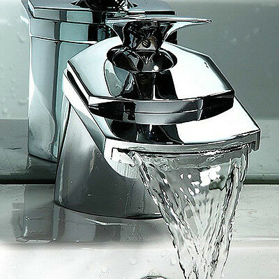 Waterfall Sink Mono Water Mixer Tap Bathroom Basin Square Stainless Steel Chrome