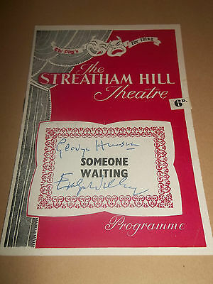 """Streatham Hill Theatre """" Someone Waiting """" Rare Signed / Autographed Prog 1950's"""
