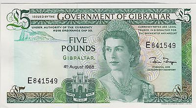 P21b GIBRALTAR 1988 FIVE POUNDS BANKNOTE IN NEAR MINT CONDITION