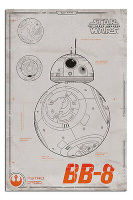 Star Wars 7 The Force Awakens BB-8 Blueprint Poster New - Maxi Size 36 x 24 Inch