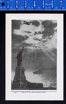 Patriotic Scene: Statue of Liberty, Ship & Bi-Plane - 1939