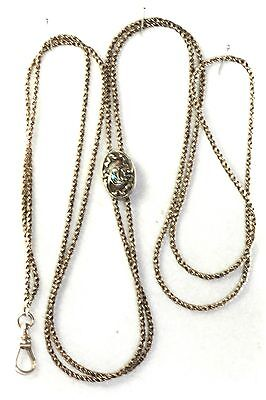 Victorian Antique Sterling Silver Crescent Moon Slide Very Long Watch Chain