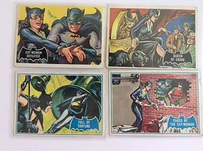 Batman Topps 1966 Vintage Lot of 4 Trading Cards Catwoman 26 35 5B 21B