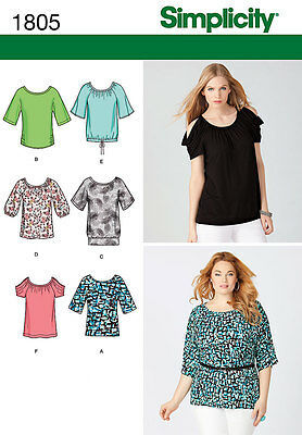 NEW Simplicity Misses/Plus Size Sewing Pattern 1805 Pullover Top | FREE SHIPPING