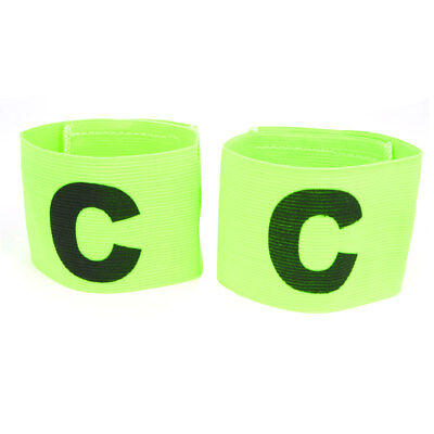 2 x Black C Print Fooball Sports Game Elastic Green Captain Symbol Armband