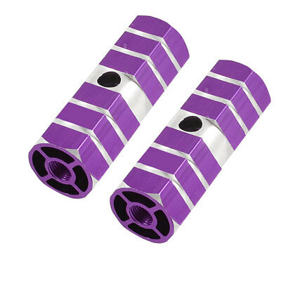 Pair of Purple Silver Tone Hexagonal Mountain Bike Bicycle Foot Pegs