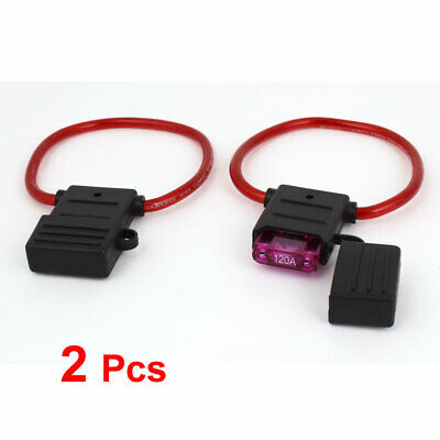 2 Pcs 120A Waterproof In Line Stanard Blade Type Fuse Holder Car Boat