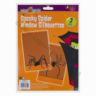 2 x Spooky Spider Window Silhouettes Halloween Party Trick or Treat Decoration