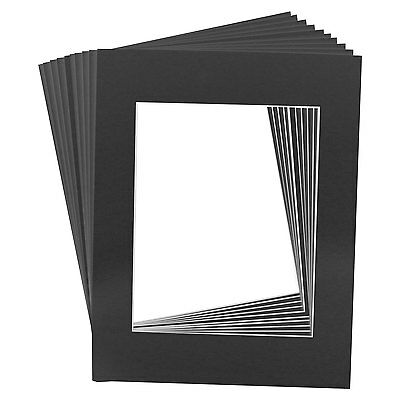 10 Art Mats Premier Quality Acid-Free Pre-Cut 16x20 Black Picture Mat Face Frame