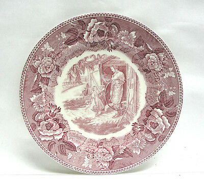 Wedgwood China Transferware Plate - Longfellow Series / Red - Village Blacksmith