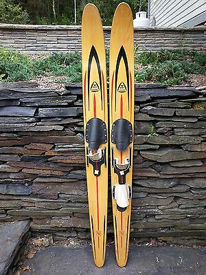 "VINTAGE Set of Wooden 69"" Long Waterskis Water Skis Signed VOIT CX330"