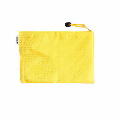 Yellow Zip up Nylon Hex Pattern A4 Paper Files Bag Holder Container