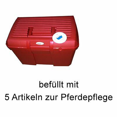 CATAGO Horse Grooming Box with Accessories - rot - stabile Box zur Horses
