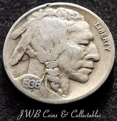 1936-D USA Buffalo Nickel Coin - United States of America,