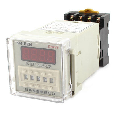 AC/DC 12V 4PDT Digital Display 0.01s-9999h Time Relay DH48S-11 w Base