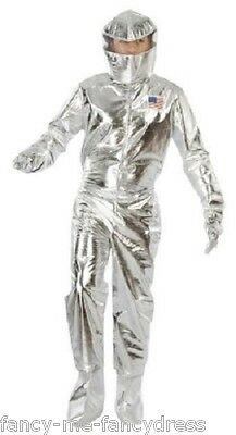 Mens Silver Astronaut Space Cadet American Fancy Dress Costume Outfit Size Large
