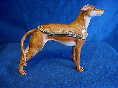 Juliana Treasured Trinkets Whippet Racing Dog Metal Trinket Box 15488