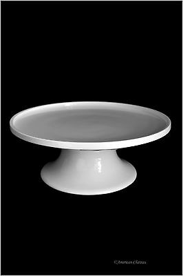 """8"""" White Porcelain Round Pedestal Pie Footed Plate Cake Dessert Stand with Lip"""