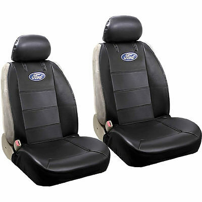 Ford Elite Logo Original Black Synthetic Leather Sideless Seat Covers Universal