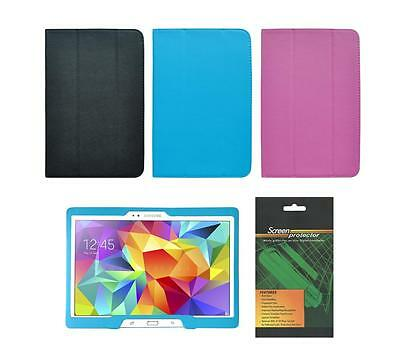 """Folio Cover Case and Screen Protector for Samsung Galaxy Tab 4 10.1"""" SM-T530"""