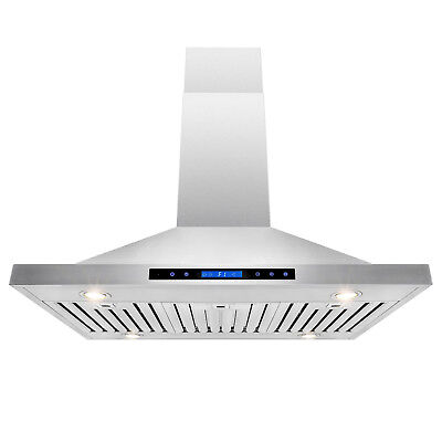 """42"""" Stainless Steel Island Mount Dual Touch Screen Kitchen Vent Range Hood"""