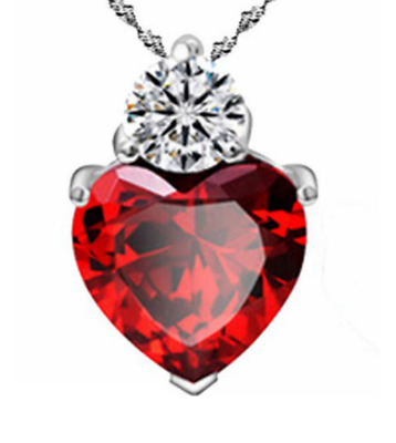 """18"""" 925 Sterling Silver Red Garnet Heart Crystal Pendant Necklace Gift Box B6"""