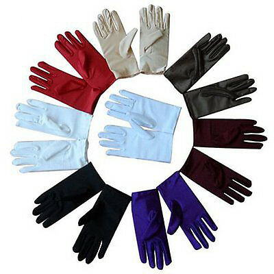 Women Evening Dressing Prom Driving Wrist Short Finger Satin Party Bride Gloves