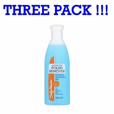 Three Pack Sally Hansen Nail Polish Remover 3x200ml Acetone Free