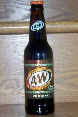 NM USA FULL 2010 A&W ROOT BEER 12oz AMBER GLASS BOTTLE - WEST JEFFERSON NC