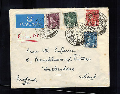 1938 Baghdad Iraq airmail cover to England via KLM Airways