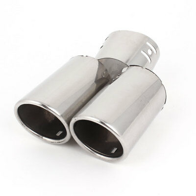 Car 57mm Slant Dual Tip Stainless Steel Exhaust Muffler Tail Pipe Silver Tone