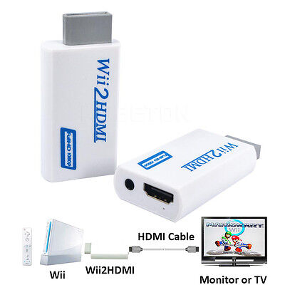 Wii to HDMI Wii2HDMI Full HD FHD 1080P Converter Adapter 3.5mm Audio Output Jack
