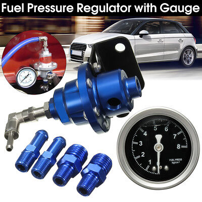 Universal Blue Adjustable Fuel Pressure Regulator With Filled Oil Gauge Aluminum