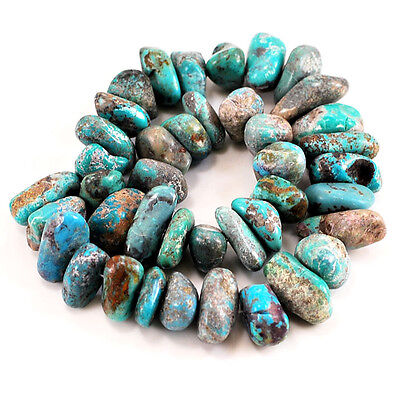 "*17-25mm Natural Blue Hubei Turquoise Nugget Beads 15""(TU661)g"