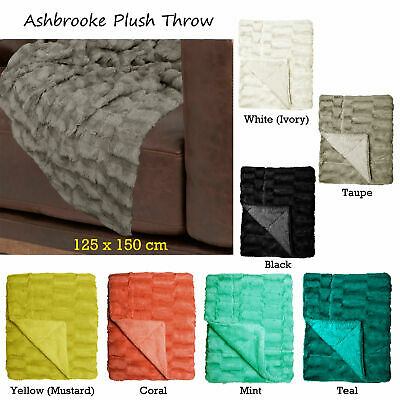 7 Colors Choice - Ashbrooke Plush Faux Mink Fur Throw Rug Blanket 125 x 150 cm