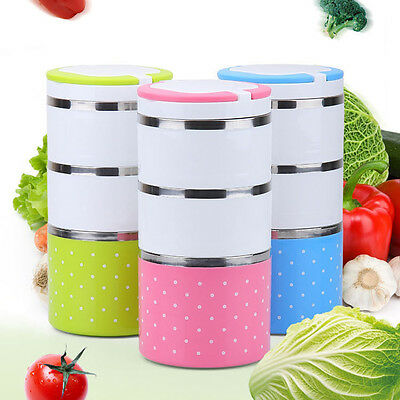 2/3-Layer Cute Stainless Steel Lunch Box Insulation Bento Food Picnic Container