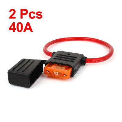 2 Pcs 40A Waterproof In Line Stanard Blade Type Fuse Holder for Car