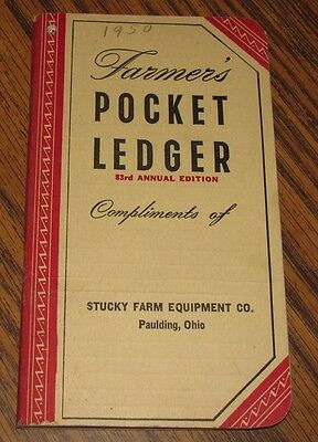 1949-1950 John Deere Farmers Pocket Ledger STUCKY FARM EQUIPMENT PAULDING OH  83