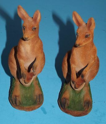 """2 Kangaroo Banks with Joey's about 7.5"""" tall Vintage Felt Covered w stoppers"""