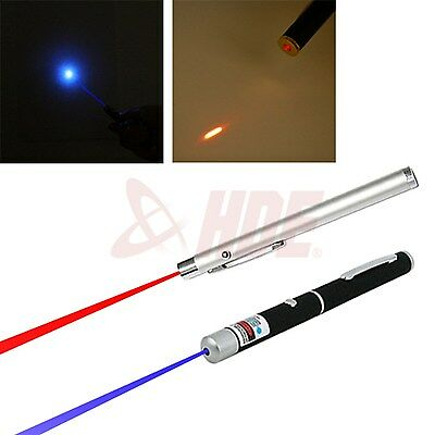 2pc Powerful 5mW Military Red & Blue/Violet Laser Pointer Light Beam Pens Office