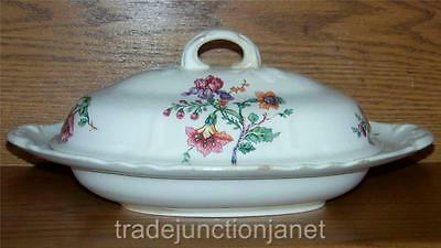 "Antique Knowles Taylor & Knowles Kt&k Ivory 12.75"" Floral Covered Vegetable Bowl"