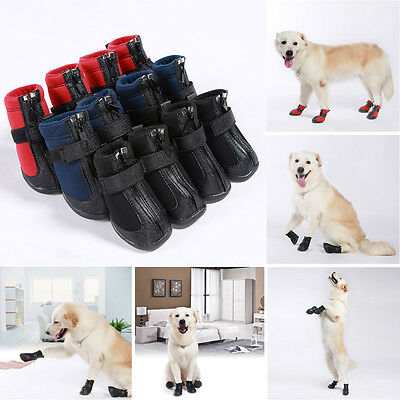 4Pcs Cute Warm Winter Pet Dog Boots Waterproof Anti-Slip Puppy Pet Booties Shoes
