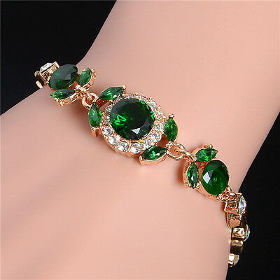 Fashion Jewelry 1pc 18K Gold Plated Colorful Crystal Charm Bracelet Bangle Women