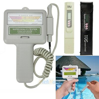 PH/CL2 Chlorine Level Tester + TDS3 Water TEMP Meter for Swimming Pool Spa NEW