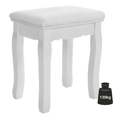 SONGMICS White Vintage Stool Dressing table Piano Chair with Floral Deco RDS45W