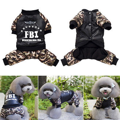 FBI Camouflage Clothes Costume Jumpsuit Winter Coat Jacket Pet Puppy for Dog Hot