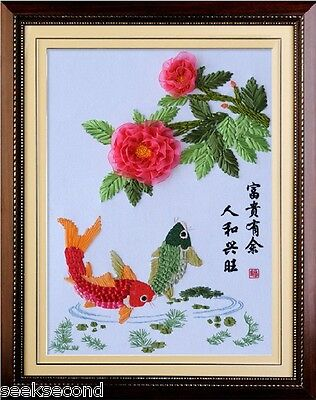 Ribbon Embroidery Kit Fish and Flower 55x70cm RE1007