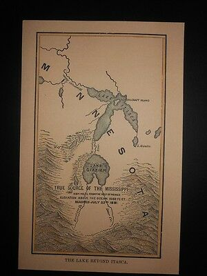 Source of the Mississippi River  Lake Itasca & Lake Glazier Minnesota 1881 Map