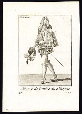 2 Antique Religious Prints-KNIGHT-ORDER OF THE HOLY SPIRIT-FRANCE-Helyot-1792