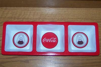 "NOS 2006 COCA-COLA 14.75""x5.25""x1.5"" MELAMINE DIVIDED DIP DISH - BUTTON&CAN TOPS"